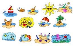 Grupo de elementos gráfico da temporada de verão Fotografia de Stock
