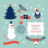 Grupo de elementos gráfico do Natal Imagens de Stock Royalty Free