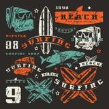 Grupo de elementos gráficos Ônibus, surfando, tubarão Fotos de Stock