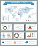 Grupo de elementos infographic detalhado com gráficos do mapa do mundo e ch Fotos de Stock Royalty Free