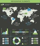 Grupo de elementos infographic detalhado com gráficos do mapa do mundo e ch Imagens de Stock Royalty Free