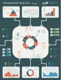 Grupo de elementos infographic detalhado com gráficos e cartas Imagem de Stock Royalty Free