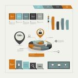 Grupo de elementos infographic lisos. Imagem de Stock