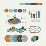 Grupo de elementos infographic sextavados. Vetor. Fotografia de Stock