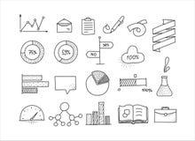 Grupo de elementos infographic tirado mão do projeto doodle Fotos de Stock Royalty Free