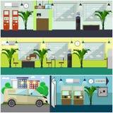 Grupo de elementos interiores do projeto de conceito do banco, estilo liso do vetor Imagem de Stock