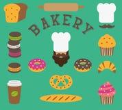 Grupo de elementos lisos da padaria isolados - pessoa do padeiro, chapéu do ` s do cozinheiro chefe, bigode, pão, baguette, naco, Imagens de Stock Royalty Free