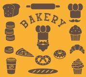 Grupo de elementos lisos da padaria isolados - pessoa do padeiro, chapéu do ` s do cozinheiro chefe, bigode, pão, baguette, naco, Foto de Stock