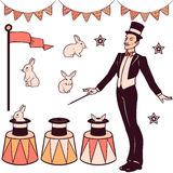 Grupo de elementos mágicos do desempenho ilustração do vetor