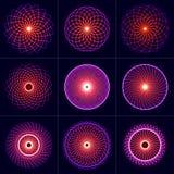 Grupo de elementos de néon da simetria do fulgor Geometria sagrado Círculo do equilíbrio e da harmonia Fundo psicadélico abstrato ilustração royalty free