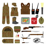 Grupo de elementos para caçar no estilo liso imagem de stock
