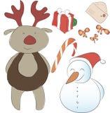 Grupo de elementos para a decoração do ano novo ou do Natal Assistente S Imagem de Stock Royalty Free