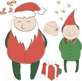 Grupo de elementos para a decoração do ano novo ou do Natal Papai Noel _2 Foto de Stock