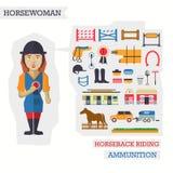 Grupo de elementos para a equitação com Foto de Stock Royalty Free