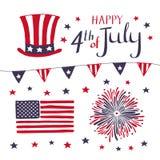 Grupo de elementos patrióticos para comemorar 4o julho objetos americanos tirados mão do vetor do Dia da Independência fotografia de stock