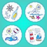 Grupo de elementos pintados à mão do mar da garatuja Fotografia de Stock