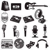 Grupo de elementos retros do partido Instrumentos de música isolados no branco Fotografia de Stock Royalty Free