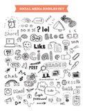 Grupo de elementos social da garatuja dos meios Foto de Stock Royalty Free
