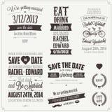 Grupo de elementos tipográficos do projeto do convite do casamento Foto de Stock Royalty Free