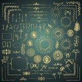 Grupo de elementos tirados do projeto do vetor mão decorativa ilustração do vetor