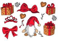 Grupo de elementos tirados mão da garatuja do Natal ilustração do vetor