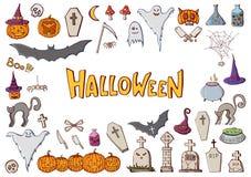 Grupo de elementos tirados mão dos desenhos animados da garatuja da cor de Dia das Bruxas cel foto de stock royalty free