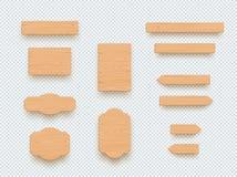 Grupo de elementos vazio da bandeira da placa 3d da planície de madeira do sinal ilustração stock
