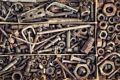 Grupo de elementos velhos da asseguração no estilo do vintage como um fundo fotografia de stock