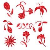 Grupo de elementos vermelhos do projeto da flor Fotos de Stock