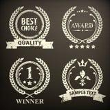 Grupo de emblema da grinalda do louro no preto Imagem de Stock Royalty Free