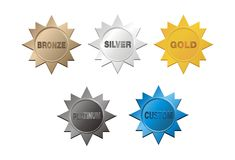 Grupo de emblema da medalha Foto de Stock