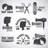 Grupo de emblema do vetor, etiqueta, crachá, logotipos para o salão de beleza do ` s do cabeleireiro ilustração royalty free