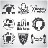 Grupo de emblema do vetor, etiqueta, crachá, logotipos para o salão de beleza do ` s do cabeleireiro ilustração do vetor