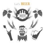 Grupo de emblemas da cerveja, de símbolos, de logotipo, de crachás, de sinais, de ícones e de elementos do projeto Imagens de Stock
