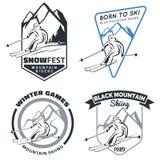 Grupo de emblemas, de crachás e de ícones do esqui da montanha do inverno Foto de Stock