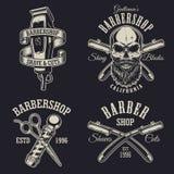 Grupo de emblemas do barbeiro do vintage Foto de Stock