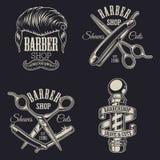 Grupo de emblemas do barbeiro do vintage Imagem de Stock