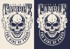 Grupo de emblemas do casino com crânio ilustração royalty free
