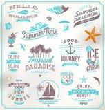 Grupo de emblemas do curso e das férias Foto de Stock Royalty Free