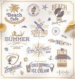 Grupo de emblemas do curso e das férias Fotografia de Stock Royalty Free