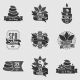 Grupo de emblemas dos termas e da massagem da beleza, de crachás, de logotipo e de etiquetas Foto de Stock Royalty Free