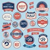 Grupo de emblemas e de fitas do vintage ilustração royalty free
