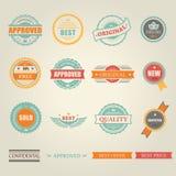 Grupo de emblemas e de selos coloridos vetor Imagens de Stock