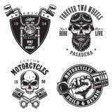 Grupo de emblemas feitos sob encomenda da motocicleta Fotografia de Stock