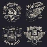 Grupo de emblemas feitos sob encomenda da motocicleta Foto de Stock