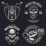 Grupo de emblemas feitos sob encomenda da motocicleta Fotografia de Stock Royalty Free