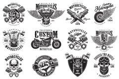 Grupo de emblemas feitos sob encomenda da motocicleta Imagens de Stock Royalty Free