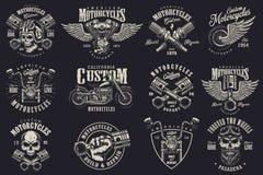 Grupo de emblemas feitos sob encomenda da motocicleta Foto de Stock Royalty Free