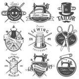 Grupo de emblemas monocromáticos do alfaiate do vintage Fotografia de Stock Royalty Free
