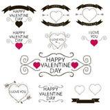 Grupo de emblemas ou de decoração para o dia de Valentim Fotos de Stock